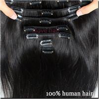 bakire saç tokası uzantıları toptan satış-İnsan Saç Uzantıları Klip Brezilyalı Bakire Saç Sınıf 8A 100% Remy Doğal Klip Uzatma Düz 10 Adet / takım 120g