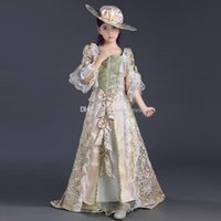 Wholesale Newest Children S Clothes - 2017 newest Children pink printed lace Victorian Medieval Girl Party Dresses Girls Renaissance Reenactment Theater Clothing
