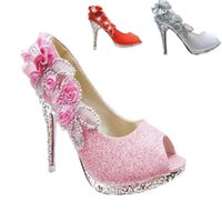 New Sparkling Open Toes Sapatos de casamento Piscine Mouth Fish Flower Beaded Shallow High Heel Pink Prata Gold Red Bridal Shoe para Dres
