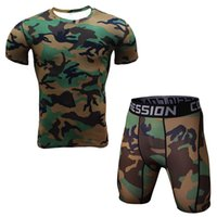 Wholesale Camouflage Short Sleeved Running Sets Men Sport Tights Compression Underwear Suits Fitness Gym Jogging Training Sport Suit