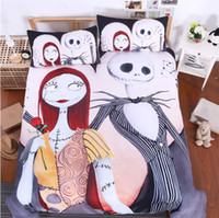 3pcs / set Bedding Set Nightmare Before Christmas Bedclothes Linho de cama fresco Impresso Soft Twin Full Queen King Duvet Cover Travesseiros