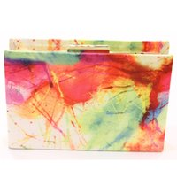 Wholesale Diary Book Case - Wholesale-Ladies Fashion Diary Book Handbag Purse Shoulder Bags Metal Day Clutches Colorful Painting Hard Case Casual Clutch Dinner Bag