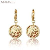 ingrosso orecchini di rosa placcati oro rosa-Ha placcato i monili di goccia (414E) MGFam oro rosa 18 carati orecchini del fiore per le donne originale Rosso Rosa zircone cubico