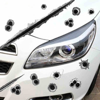 Funny Car Stickers 3D Bullet Hole Car Styling Scratch de motocicleta Realistic Bullet Hole Waterproof Stickers Bombest Bumper Amazing Stickers