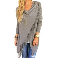 Wholesale Oversized Xxl - Wholesale-Autumn Winter Cape Poncho Fashion Womens Capes And Ponchoes Women Oversized Sweater With Tassel Turtleneck Sweater Plus Size XXL