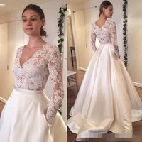 Wholesale Pocket Skirts - 2016 Vintage Lace Wedding Dresses Long Sleeve Lace Applique A Line With Pocket Plus Size Satin Country Style Boho Bridal Wedding Gowns
