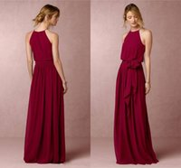 Wholesale Chiffon Sheath Sleeveless Wedding Party - Burgundy Long Bridesmaid Dresses BHLDN Chiffon Summer Beach Wedding Party Dresses Sheath Floor Length Cheap Long Prom Dresses Dark Navy