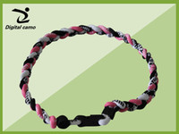 """Wholesale Green Titanium Sport Necklaces - pink black white titanium necklace 3 rope necklace tornado sports braided baseball softball soccer necklace size 16"""" 18"""" 20"""" 22"""""""