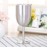 Wholesale China Wholesale Jars - 10oz Stainless Steel Wine Glass 9 Colors Double Wall Insulated Metal Goblet With Lid Rambler Colster Tumbler Red Wine Mugs wn203