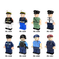 Wholesale Fly Figure - 8pcs set Police DIY Action Minifigures Marine Corps HongKong Polices Macau Polices Flying Tigers Figure POGO PG8062 Building Blocks Figures