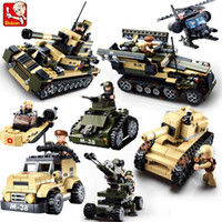 Wholesale Plastic Army Tanks - Sluban DIY eductional 8 in 1 Building Blocks Sets Military Army Tank children Kids Toys Christmas Gifts compatible with legoe