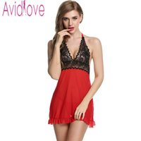 Wholesale Sexy Halter Dress G String - Wholesale- Avidlove Sexy Lingerie Hot Women Babydoll Sexy Lace Halter Erotic Lingerie Dress Fantasias Sexy Costumes Nightgown+ G-String U2
