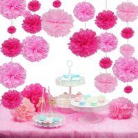 Wholesale Hanging Paper Flower Decorations - 27Pcs Sweet Pink Pom Pom Wedding Decorations Tissue Paper Pom Poms Hanging Flowers Party Decorations Kid Birthday Baby Shower
