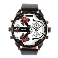 relojes de pulsera corea al por mayor-New Arrivals Time Limited Ventas al por mayor Oulm European Market Watch Radium Wristwatch Corea del Sur Hip-Hop Dual Time Table Reloj para hombre Envío gratis