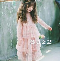 Wholesale Dress Polka Dot Pink Girls - Hug Me Girls Dress Kids Clothing 2017 Summer Polka Dot Lace Tutu Dress Fashion Long Sleeve Princess Cake Dress EC-533