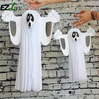 2016 Hot Halloween Paper Hanging Ghost Shroud Porta Hanger Pieghevole Divertimento Bianco Halloween Party Puntelli Decorazione ZH01203
