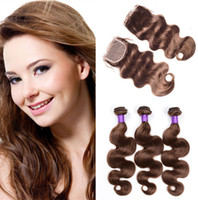 Wholesale Chocolate Brown Brazilian Hair - Medium Brown Lace Closure with Hair Bundles Color #4 Chocolate Brown Body Wave Virgin Brazilian Hair Weaves with Top Closure