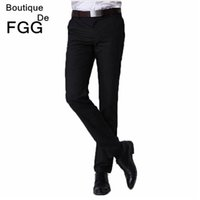 Wholesale Slim Fit Work Suit - Wholesale- Summer Big Size Easy Care Men Business Formal Black Suit Pants Slim Fit Wedding Party Bestman Groom Pants Work Wear Office Pants