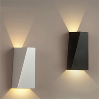 Wholesale Modern Black Wall Lamps - 10W LED Modern Light Up Down Wall Lamp Square Spot Light Sconce Lighting Home Indoor Wall Lights Outdoor Waterproof Wall Lamps Black White