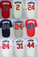 Wholesale Greg Maddux Baseball - 2017 Atlanta #24 Deion Sanders #31 Greg Maddux #44 Hank Aaron #2 Swanson Cool Base Baseball Jerseys