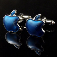 Wholesale 2016 new blue apple crystal shape High Quality French Cufflink cuff link gift for men birthday wedding holiday GD0136