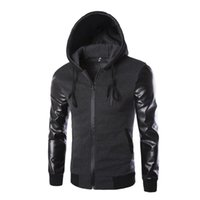 Wholesale Hoodie Leather Jacket Motorcycle - Wholesale-2016 Autumn Men`s Hooded Jacket With Leather Sleeves Motorcycle Faux Leather Slim Fit Hoodie Jacket With Hood