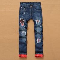 Wholesale Wholesale Hiphop Pants - Wholesale- 2016 new arrive men's hole patch beggars Slim jeans pants men's 28-38 size men's fashion trousers HipHop Christmas appointmen