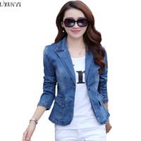 Wholesale Korean Women S Jeans - Wholesale- S-3XL Korean 2017 Spring Autumn Slim Denim Jacket Plus Size Blue Long Sleeve jeans jacket One Button Fashion Slim Suit Jackets