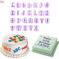 Wholesale Plastic Mold Alphabet - Hot 40pcs Purple Alphabet Number Letter Fondant Chocolate Cake Decorating Set Icing Cookie Cutter Mold Baking Accessories Moulds YSB000025