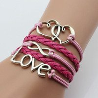 Wholesale Silver Infinity Rudder - Retro Style Hand-weaving Leather Bracelet Antique Silver Brass Multi Layer Charm Bracelet Double Heart Love Rudder Infinity Dream Bracelet