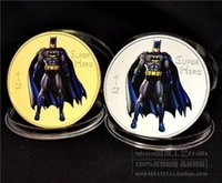 2pcs, moneta d'argento americana batman placcata in argento video commemorativo MONETE del medaglione commemorativo del supereroe batman