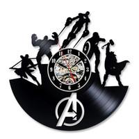 yılbaşı saatleri toptan satış-Serin Vinil Kayıt Duvar Saati Noel Hediyesi Avengers Hayranları için
