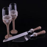 boda messer großhandel-Großhandels-Personifiziertes 4pcs / set Hochzeits-Messer-und Bediener-Set + Hochzeit Toasten Flöten Champagne Glasses Wedding Dekoration Mariage Boda