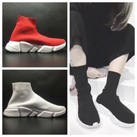 Wholesale High Help Canvas Shoes - 2017 High help Free Original quality zoom slip-on Speed Trainer Mercurial XI Black white High help Socks shoes Casual shoes men and women