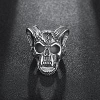 Wholesale Star Punk Rings - Fashion Big Sheep Goat Horn Head Ring Satan Worship Baphomet Aries Zodiac Wicca Ring Star For Men Unique Biker Punk Animal Jewelry