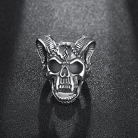 Mode Big Sheep Goat Horn Head Anneau Satan Worship Baphomet Bélier Zodiac Wicca Ring Star pour les hommes Unique Biker Punk Animal Jewelry