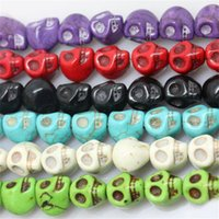 Wholesale Skull Findings - Skull Bead DIY Turquoise 8*10mm Skull Skeleton GEM Stone Loose Beads for Jewelry Making Finding Fashion Accessories DHL Free