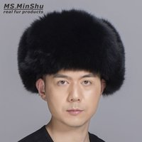 Wholesale Russian Sheepskin - Ms.MinShu Silver Fox Fur Hat with Sheepskin leather Outer shell Russian Fur Hat Unisex Winter Earflap Natural Fox Fur Cap