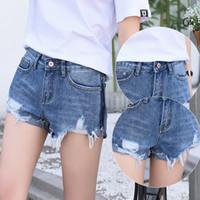 Wholesale Denim Girl Skinny Jeans - 2017 Summer Sexy Womens Girls Skinny fashion ripped denim shorts Mini Shorts Jeans Hot Denim Low Waist Jean