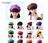 Wholesale Kitchen Hats - Cute Kids Children Kitchen Baking Craft Hat Candy Color Chef Cap