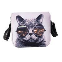 Cross Body blue body pillow - Bolsos Carteras Mujer Marca Women PU Leather Cat Wearing Glasses Print Messenger Handbag Women Bag