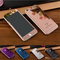 Wholesale Colored Iphone 5s Screen - For iphone 7 Tempered Full Body Mirror Protector Anti-privacy Colored Screen Film Back Sticker Cover for iphone 7 6 6s plus 4 5 5s