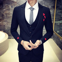 Wholesale Embroidery Bridegroom Suits - The Groom Wedding Suit Host Costume Light Gray Embroidery Flowers Three Piece Wedding Men Suits Bridegroom (Jacket+Pants+Vest)