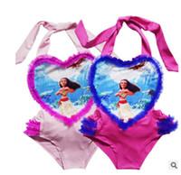 Wholesale Girls Swimsuit Heart - 2color Girl Swimwear heart Bikini moana One-Pieces Swimsuit Onesies Caroon Swimming Clothes Girls Summer moana heart Swim Kids Clothing XT