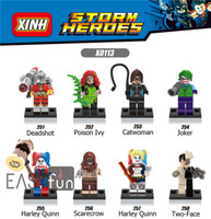 Dc Marvel Figures D'action Pas Cher-8PCS Mini Figures Marvel Building Blocks Deux-Face Super Heroes Catwoman Joker Figures Bricks Toys Harley Quinn Figurines DC Blocks