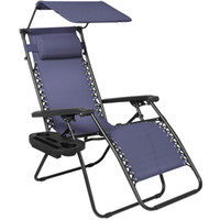 Wholesale folding cup holders - Folding Zero Gravity Recliner Lounge Chair W Canopy Shade & Cup Holder Navy Blue