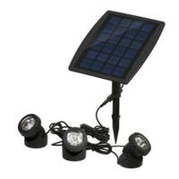 sualtı spotları toptan satış-Bahçe Havuz Gölet Yard Işıkları Açık Spot Işık 18 LEDs Güneş sualtı güneş paneli ile 3 RGB çim Güneş lambaları Spot