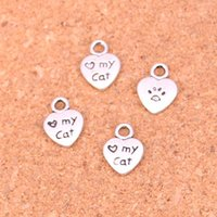 Wholesale Metal Charms Pendants Cat - 400pcs Antique silver Charms heart love my cat Pendant Fit Bracelets Necklace DIY Metal Jewelry Making 12*9mm
