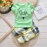 Wholesale Boys Wearing Briefs - Baby clothes for girls 2017 new boys suits short sleeve T-shirt + pants children's sports suits wear 100% cotton kids clothes