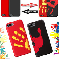 Wholesale Plastic Fingerprints - Thermosensitive Color Change Temperature Sensing Heat Thermal Sensor Magical PU Fingerprint Shell Back Cover Case For iPhone X 8 7 plus 6 6s